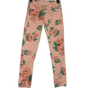 RUE21 Spring Peach Rose Floral Ankle Skinny Jeans